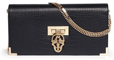 Thomas Wylde Croc Embossed Leather Chain Bag in Black