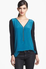 Trouvé Trouvé Zip Neck Mixed Media Top - Lyst