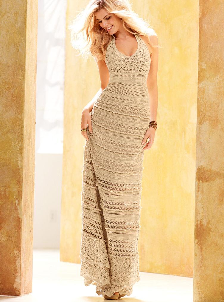Victoria 39 S Secret Crochet Maxi Dress Ivory In Beige