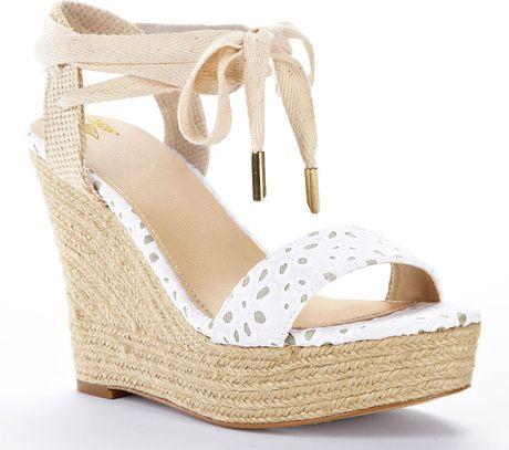 Victoria S Secret Ankle Wrap Wedge Sandal In Beige White