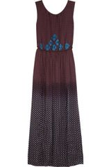Vineet Bahl Embroidered Printed Satin Maxi Dress - Lyst