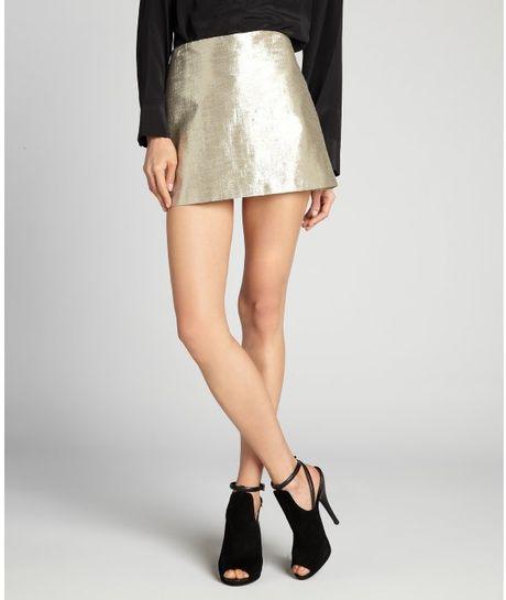 Alice + Olivia Metallic Gold Cotton Blend Mayra Mini Skirt in Gold - Lyst