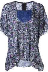 Anna Sui Square Neck Printed Blouse - Lyst
