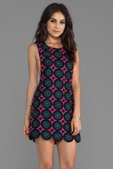 Anna Sui Mod Daisy Knit Jacquard Tank Dress with Scallop Hem in Pink - Lyst