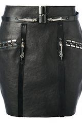 Anthony Vaccarello Leather Miniskirt - Lyst