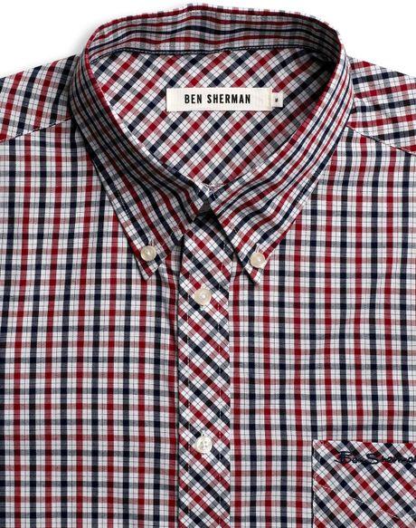 Ben Sherman Cotton Plaid Shirt In Red For Men 31 Light N