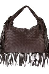 Bottega Veneta Fringed Woven Shoulder Bag - Lyst