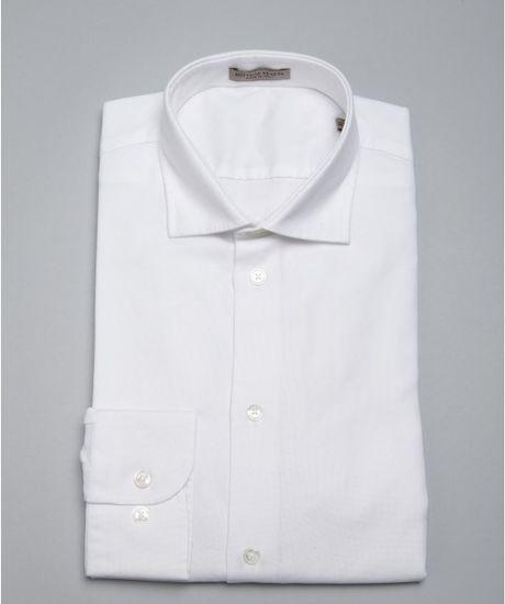 bottega veneta white cotton spread collar dress shirt in