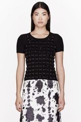 Burberry Prorsum Black Silk and Merino Geomeric Gem Panel T-shirt - Lyst