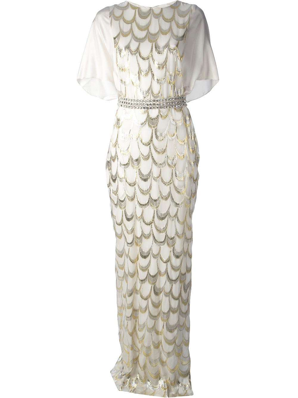 ac49633283a By Malene Birger Diamante Maxi Dress in White - Lyst