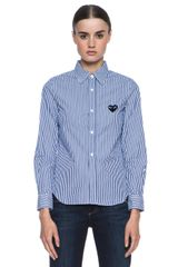 Comme Des Garçons Cotton Blend Stripe Black Emblem Button Down - Lyst