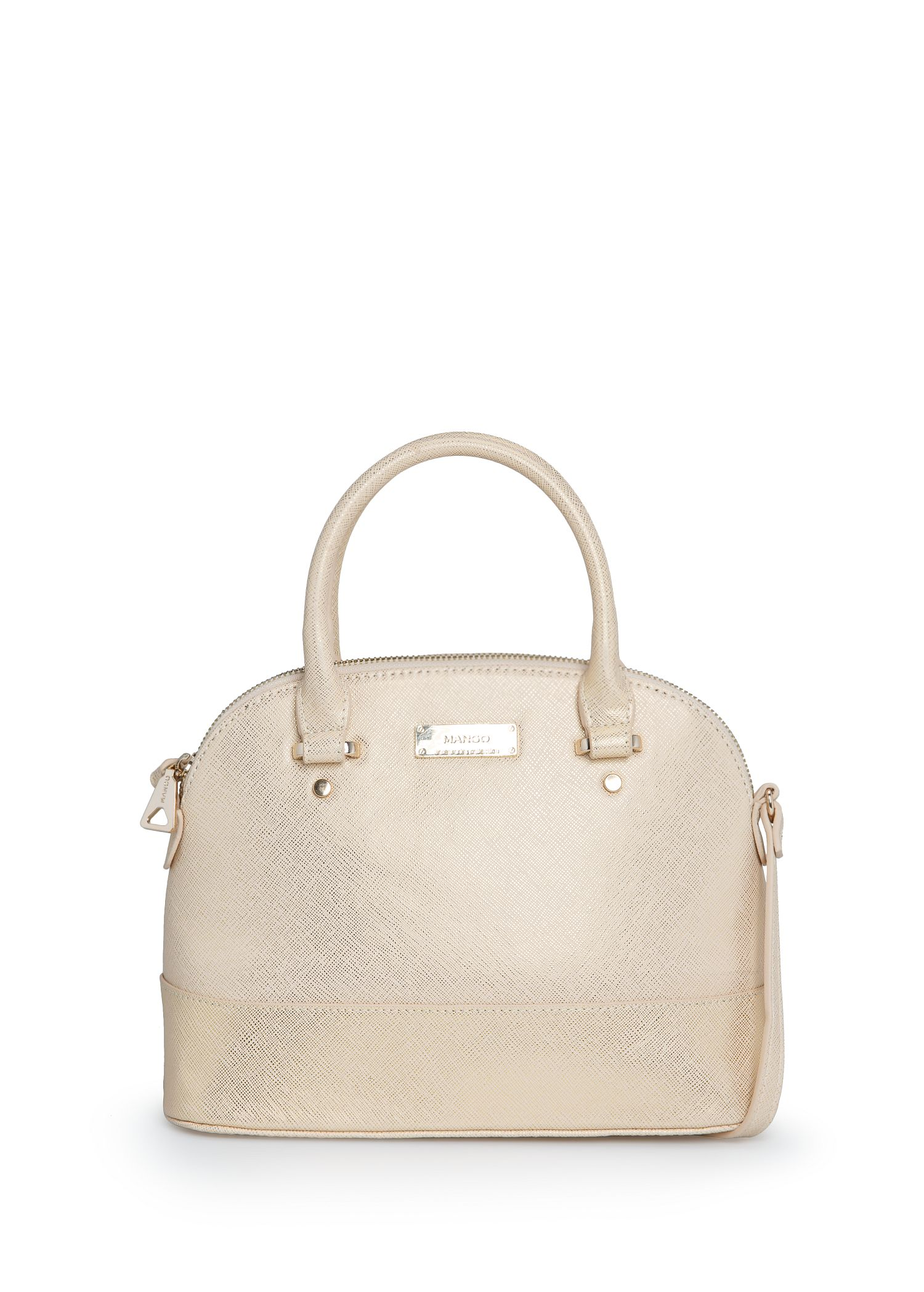 Lyst Mango Touch Saffiano Effect Tote Bag In Natural