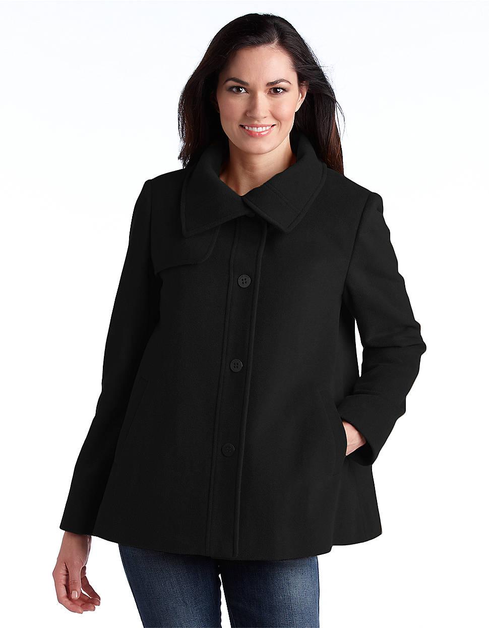 Ellen Tracy Wool Blend Swing Coat In Black Lyst