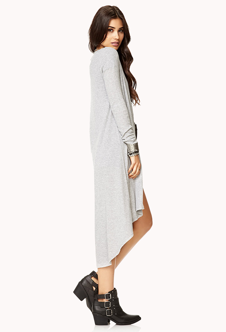 Forever 21 Easy Longline Ribbed Cardigan in Gray | Lyst