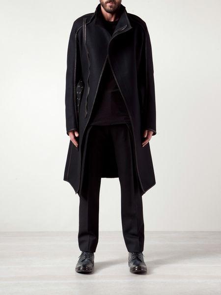 Gareth Pugh High Collar Trench Coat In Black For Men Lyst