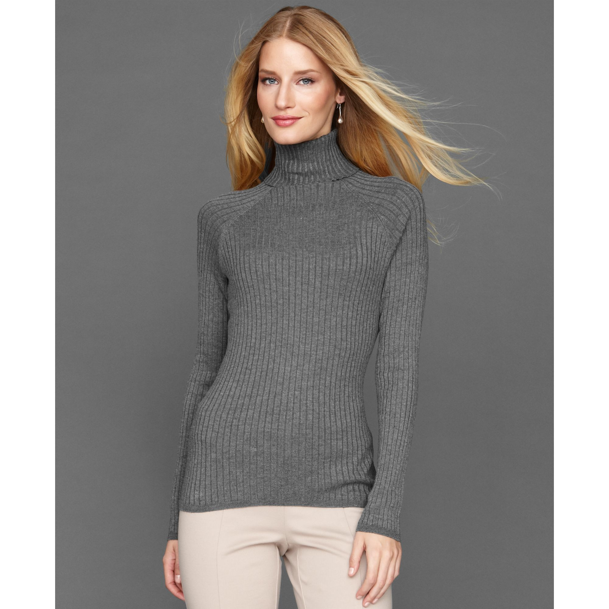 Inc international concepts Long Sleeve Ribbed Turtleneck in Gray ...