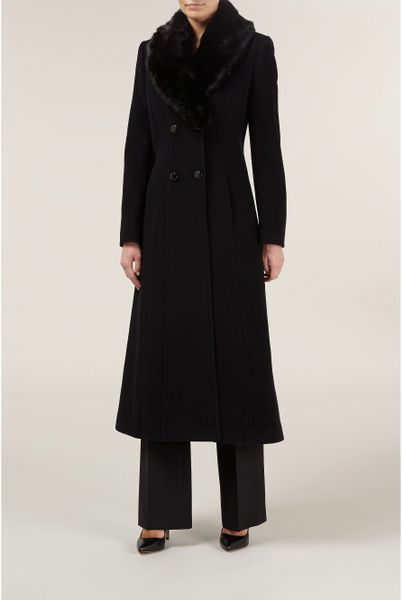 Jacques Vert Long Black Faux Fur Collar Coat In Black Lyst