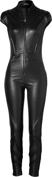 Jitrois Leather Kinsky Jumpsuit in Black - Lyst