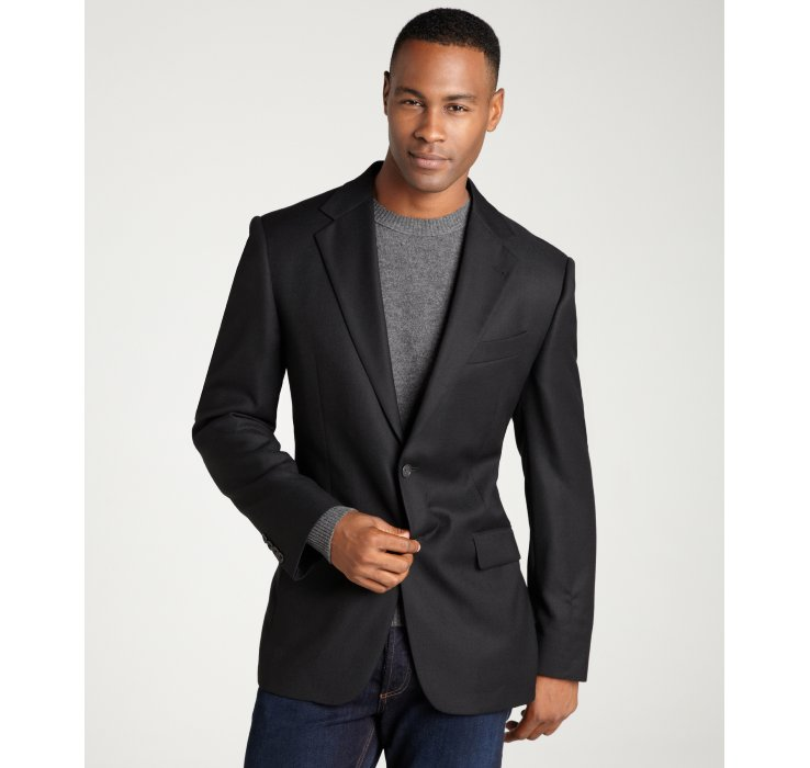 Joseph abboud Black Super 120s Wool Two Button Sport Jacket in ...