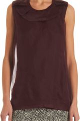 Lanvin Ruffleneck Trim Sleeveless Top - Lyst