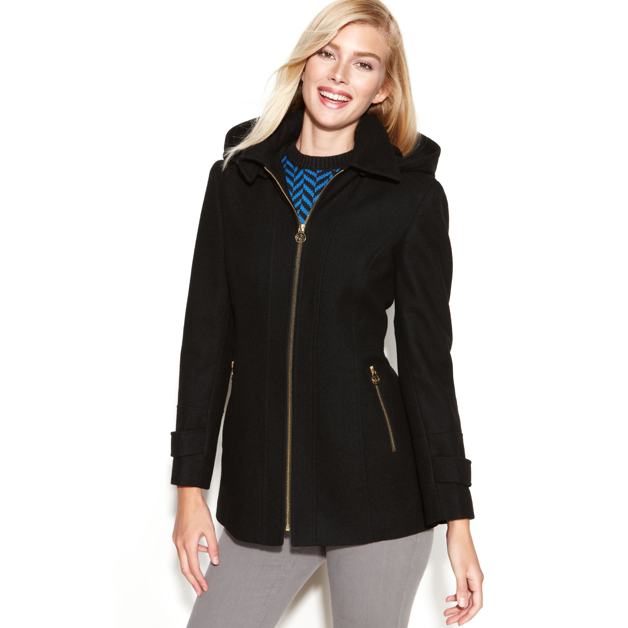 Lyst Michael Kors Hooded Zip Front Wool Blend In Black