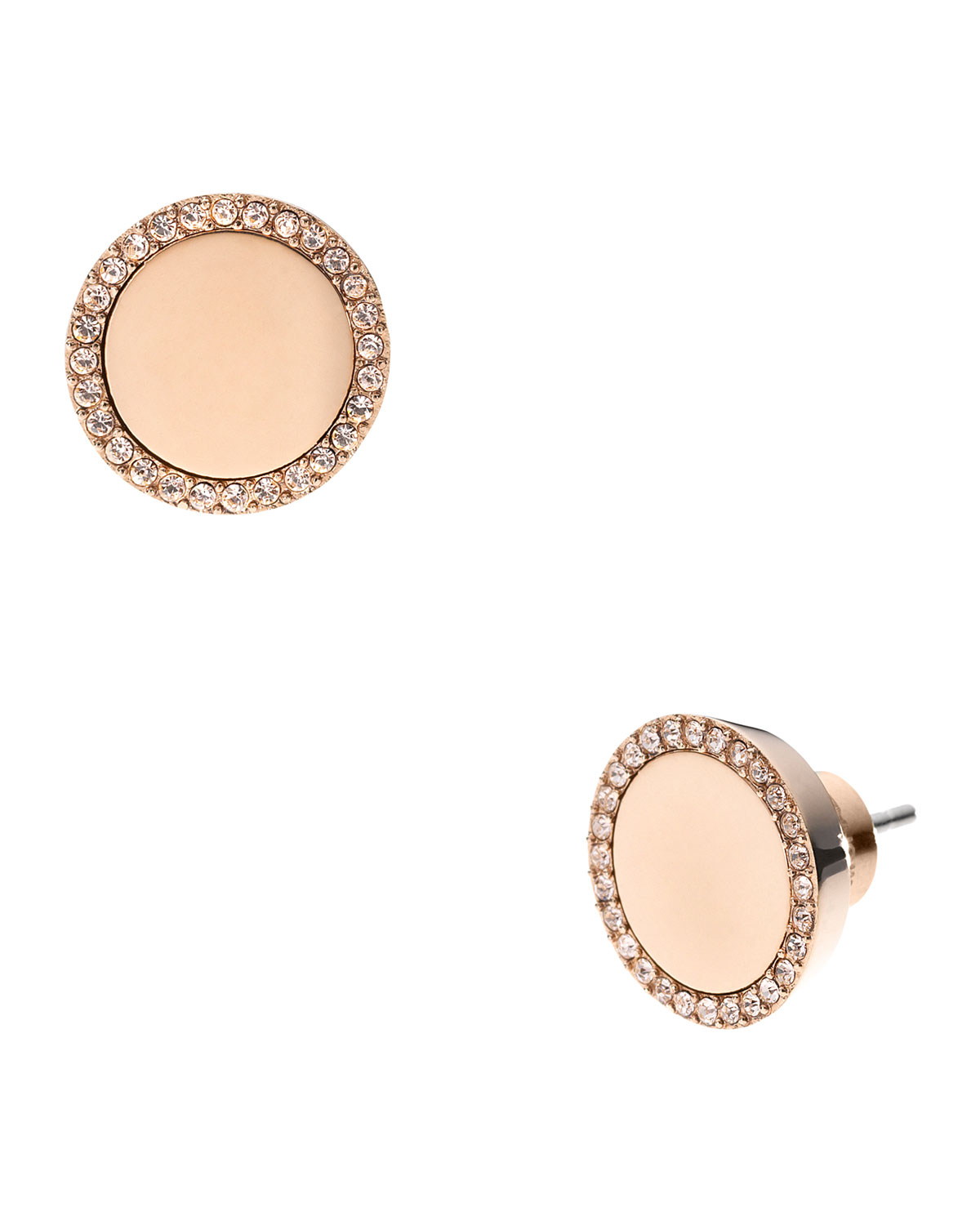 981ce1b785f9 Lyst - Michael Kors Pave Slice Stud Earrings Rose Golden in Pink