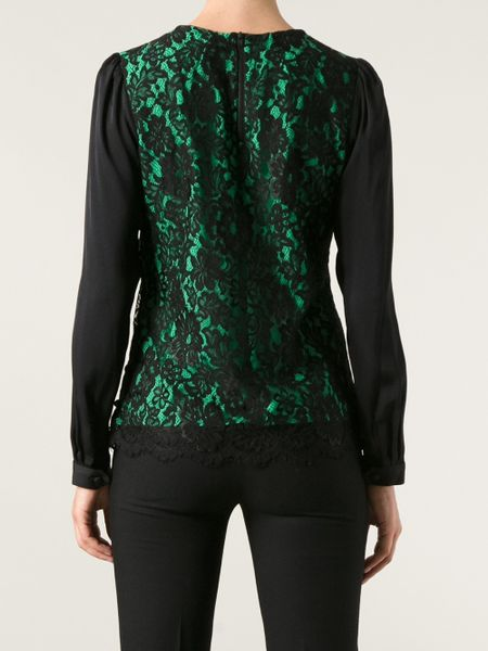Milly Lace Blouse in Green (black) | Lyst