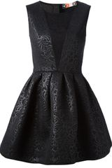 MSGM Floral Brocade Skater Dress - Lyst