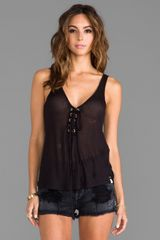 One Teaspoon Rifle Lace Up Tank in Black - Lyst