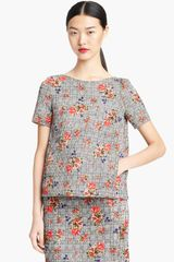 Oscar de la Renta Bouquet Glen Plaid Print Top - Lyst