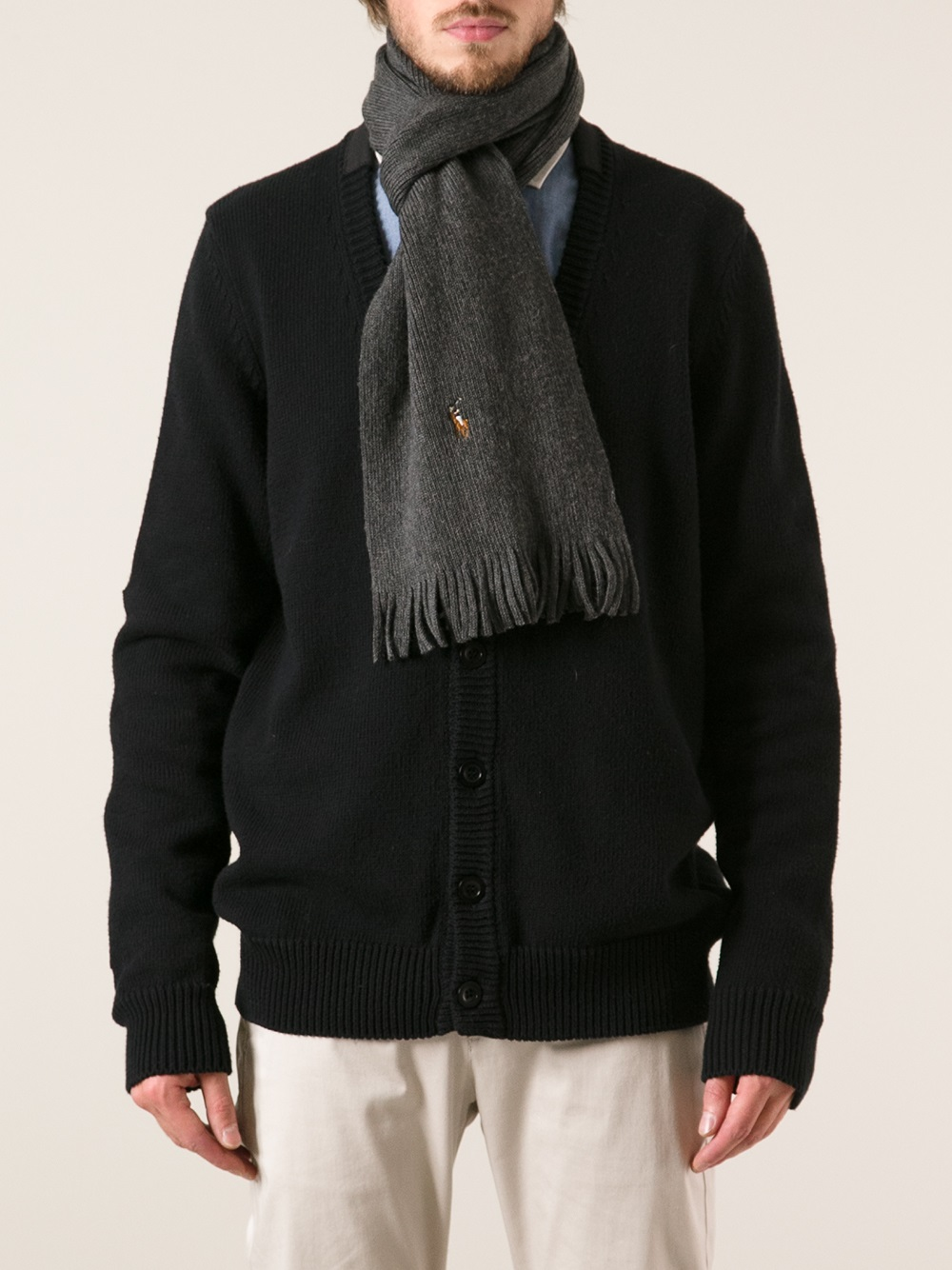 4efecffded6 ... usa lyst polo ralph lauren ribbed scarf and hat set in gray for men  ca3e4 0f497