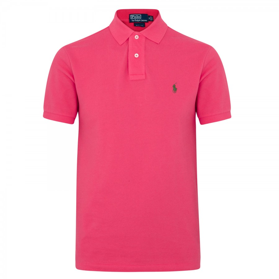Polo Ralph Lauren Piqu Cotton Polo Shirt In Pink For Men