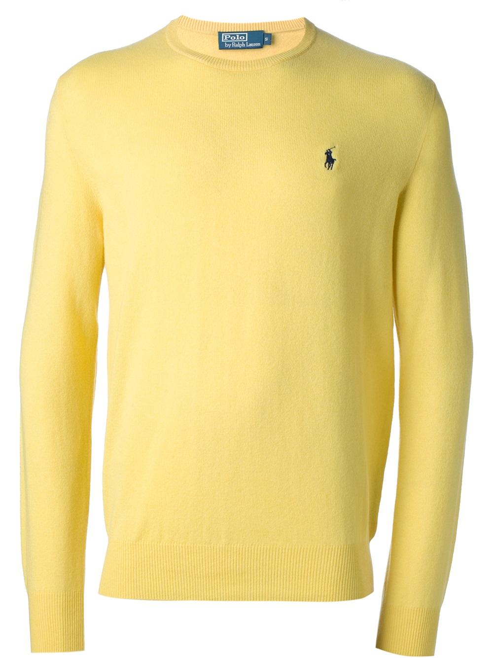Polo ralph lauren Crew Neck Sweater in Yellow for Men | Lyst