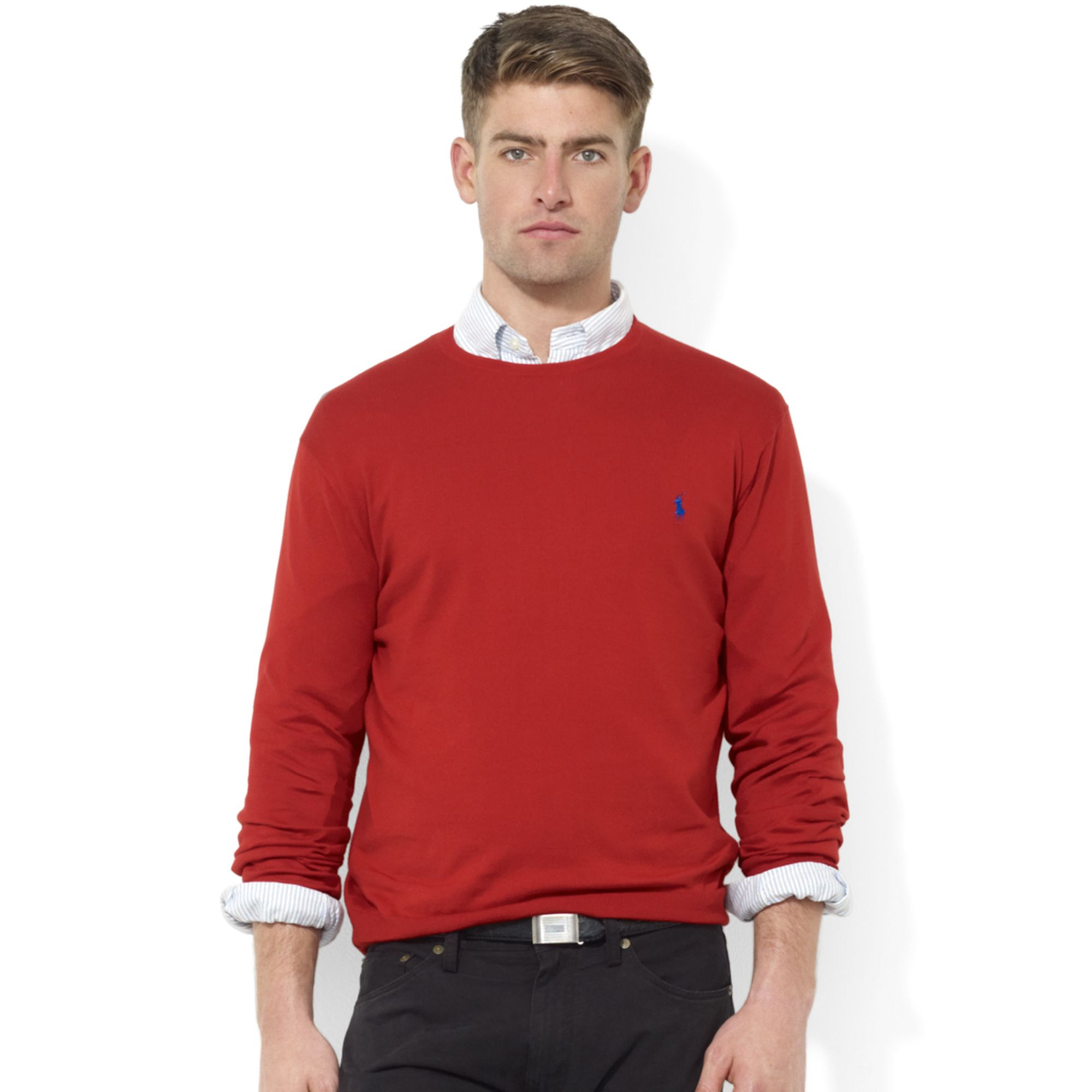 Ralph lauren Crew Neck Pima Cotton Sweater in Red for Men | Lyst
