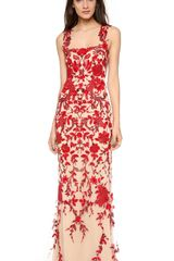Reem Acra Embroidered Illusion Gown - Lyst