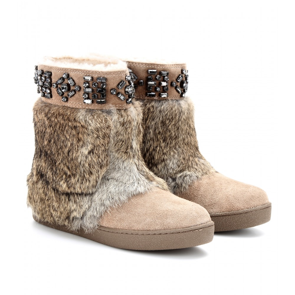 Tory Burch Dalton Embellished Suede Boots With Rabbit Fur