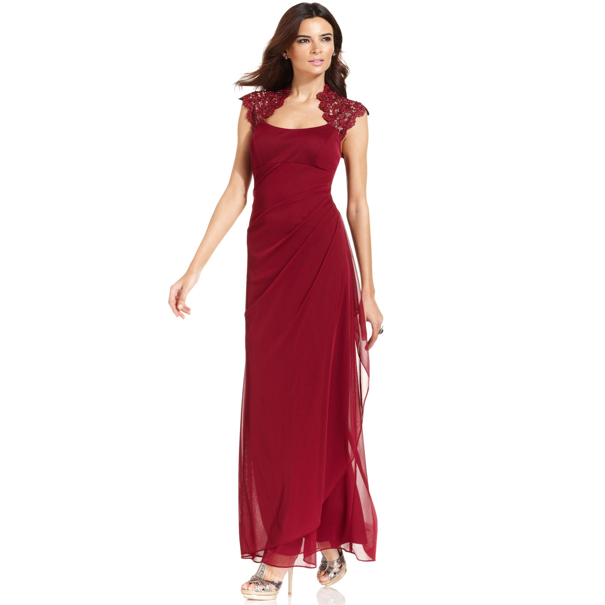 Xscape Dress Sleeveless Metallic Lace Gown in Red   Lyst