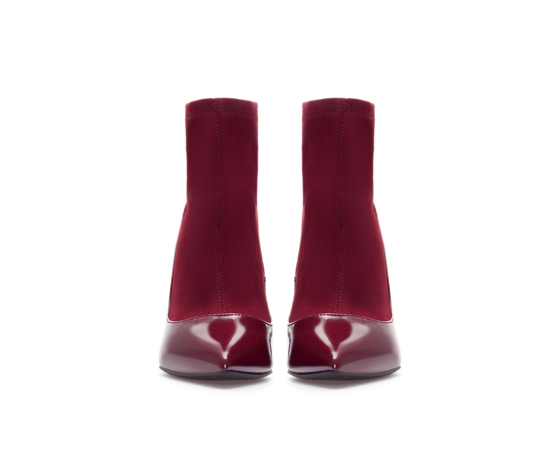 zara high heel ankle boot with sock in purple lyst