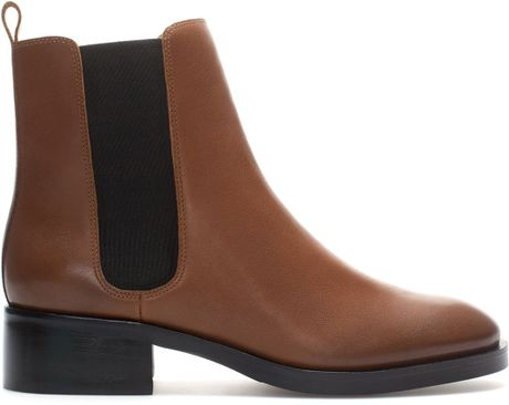 Zara Leather Chelsea Boot In Brown Leather Lyst