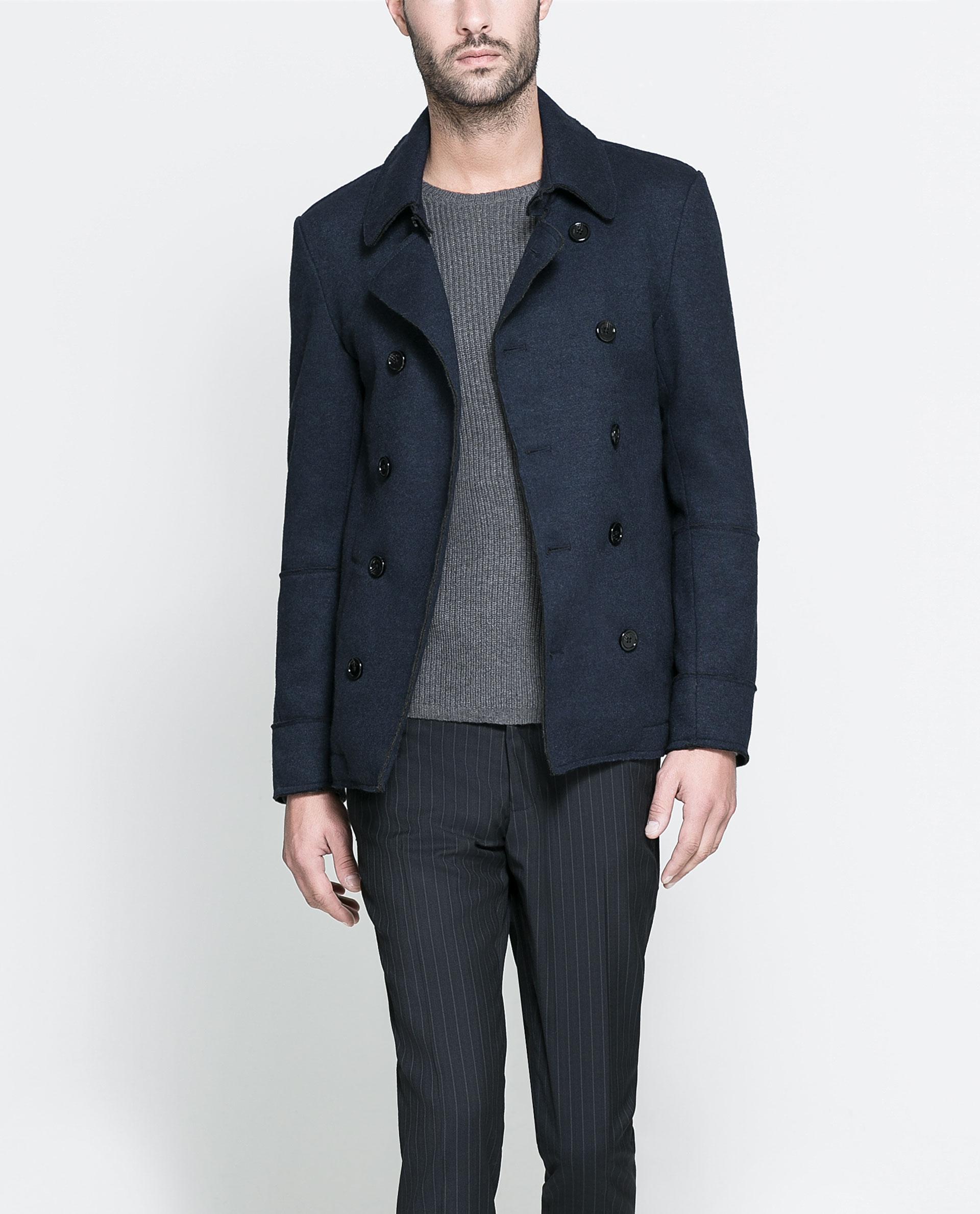 Knitting Pattern Crossover Cardigan : Zara Crossover Knitted Cardigan in Blue for Men (Navy blue) Lyst