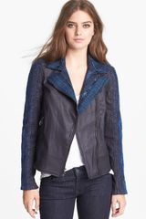 7 For All Mankind Malhia Kent Mixed Media Jacket - Lyst