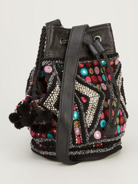 Antik Batik Embroidered Bucket Bag In Multicolor Black