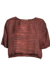 Aries Connie Stripe Silk Top In Burgundyblack  - Lyst