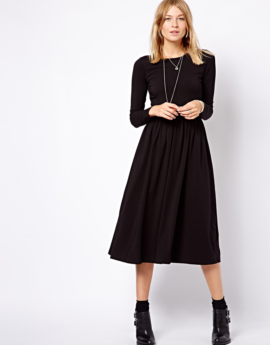 asos midi skater dress with long sleeves in black lyst