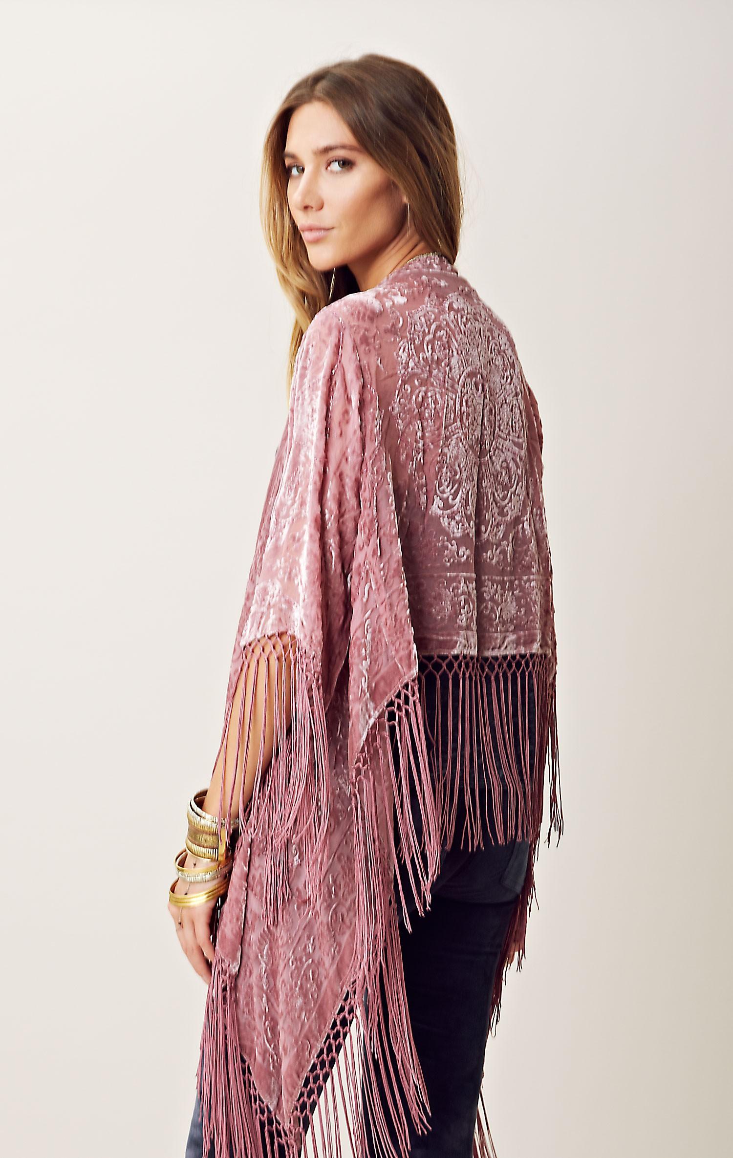 Blu Moon Fringe Burnout Velvet Kimono In Pink Purple Lyst