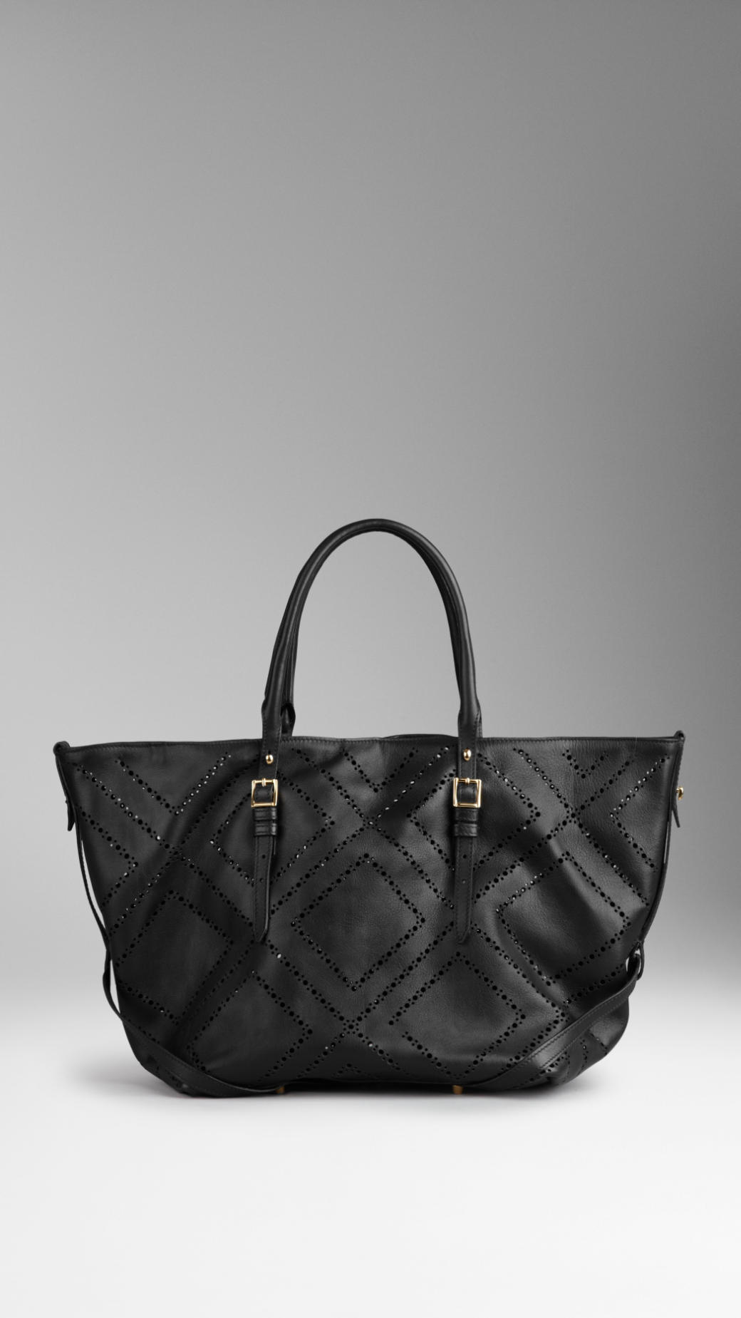 6d8a0ff83ded Lyst - Burberry Medium Brogue Detail Leather Tote Bag in Black