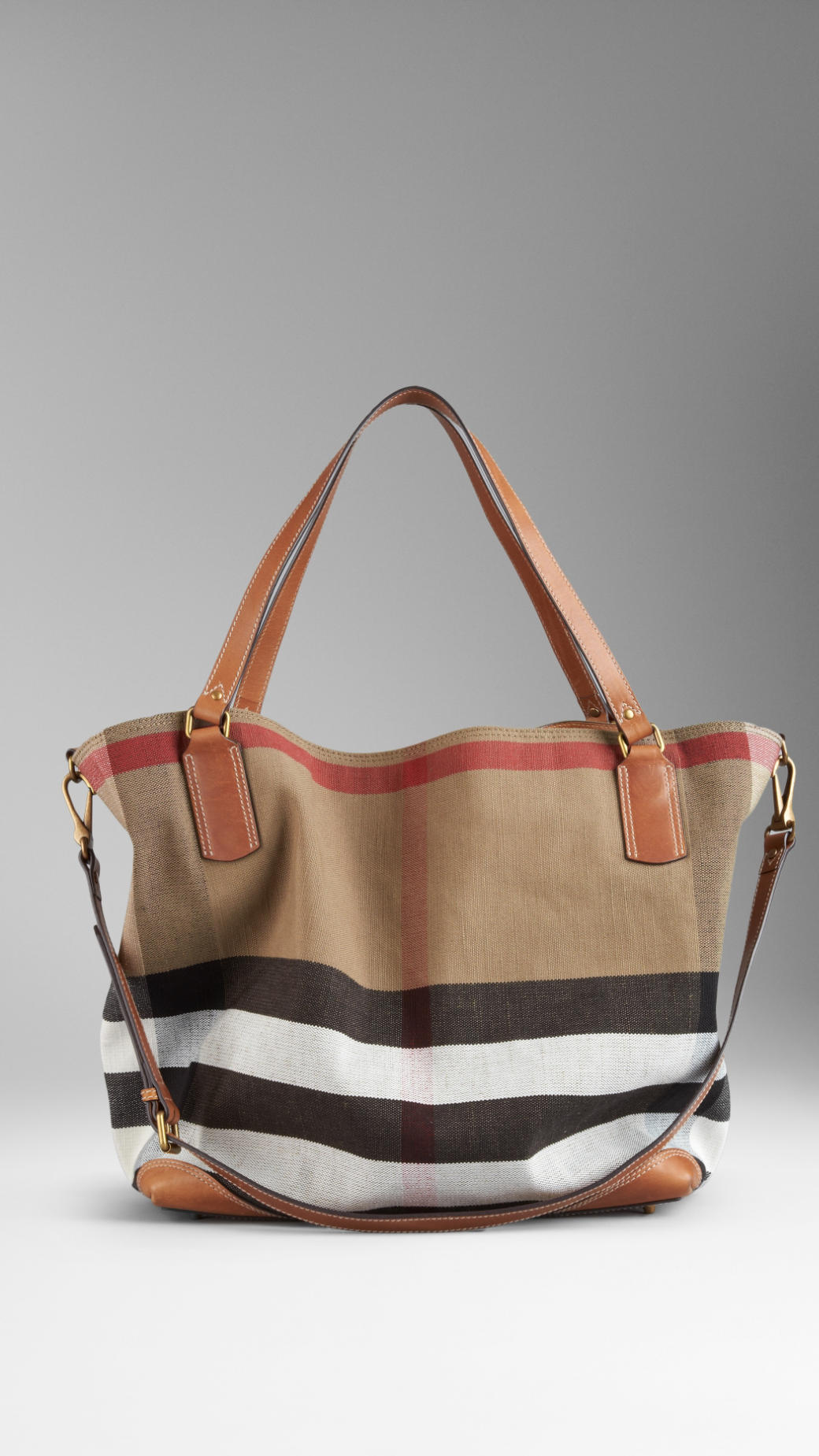fd2aee345bb7 Lyst - Burberry Brit Large Brit Check Tote Bag in Brown