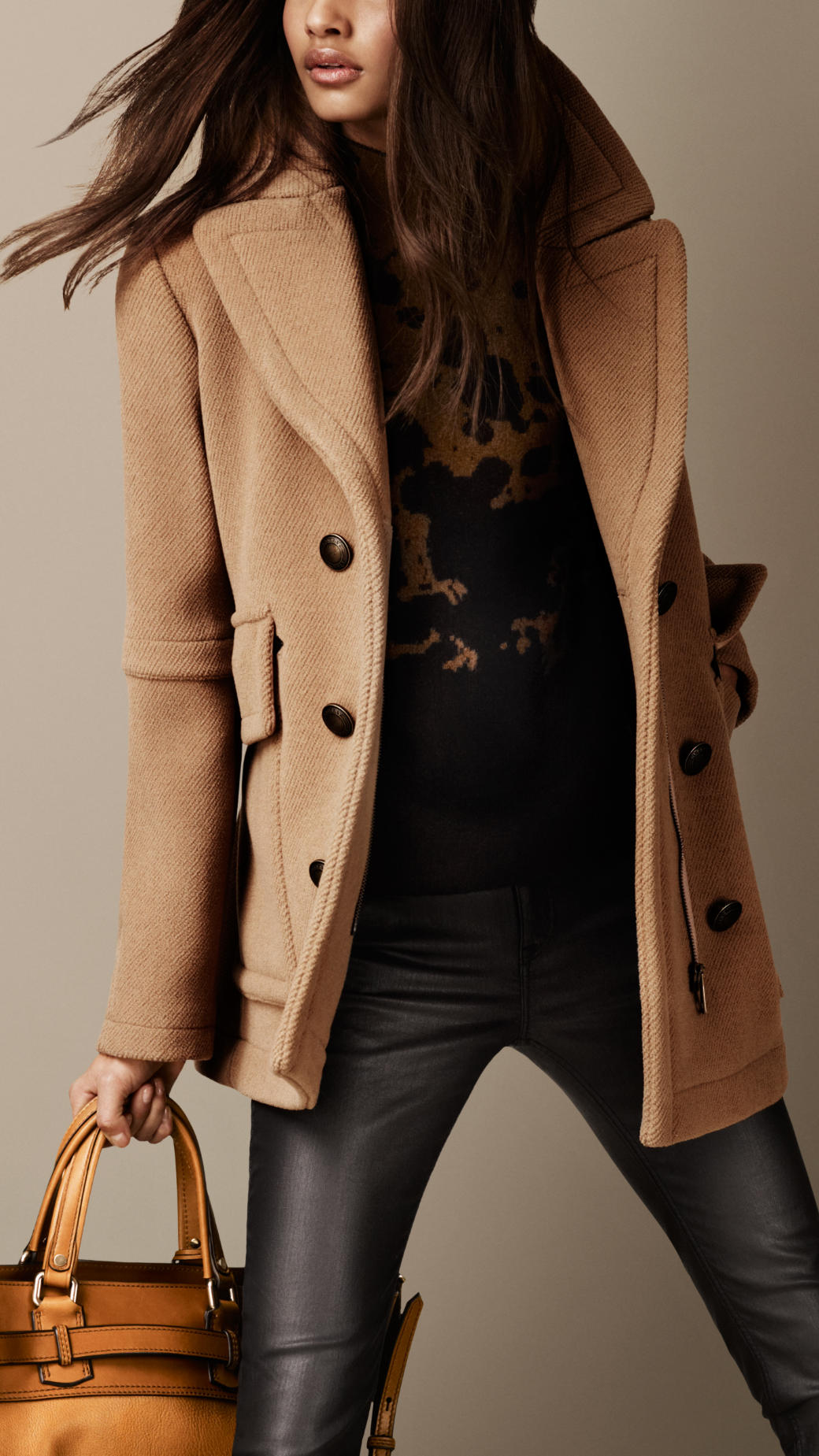 Burberry Boxfit Pea Coat in Brown | Lyst