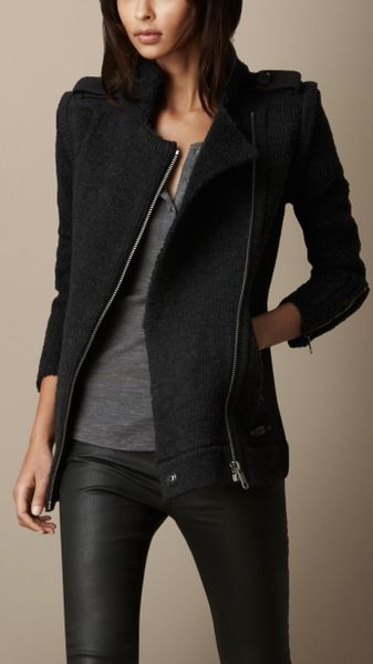 Burberry Zip Detail Cardigan Jacket With Removable Sleeves