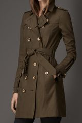 Burberry Midlength Zip Detail Gabardine Trench Coat - Lyst
